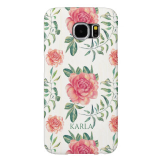 Pink Roses Watercolors Illustration Pattern Samsung Galaxy S6 Cases