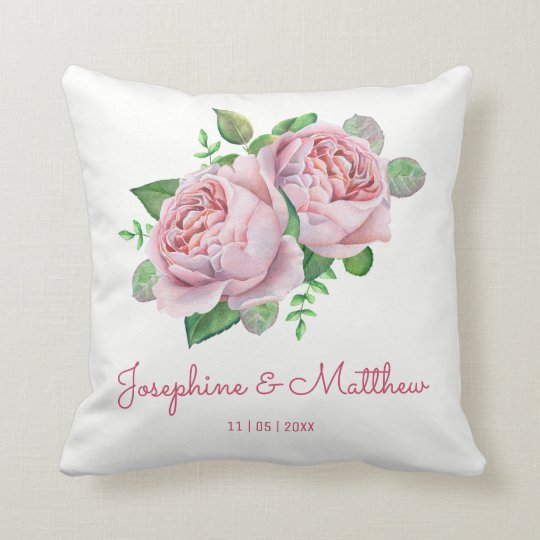 Pink Roses Wedding Cushion