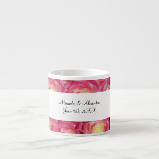 Pink roses wedding favors espresso mugs