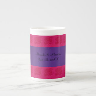 Pink roses wedding favors porcelain mugs