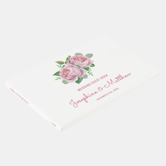 Pink Roses Wedding Guest Book