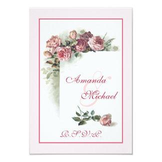 Pink Roses wedding RSVP 9 Cm X 13 Cm Invitation Card