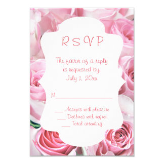 Pink Roses Wedding RSVP Cards 9 Cm X 13 Cm Invitation Card