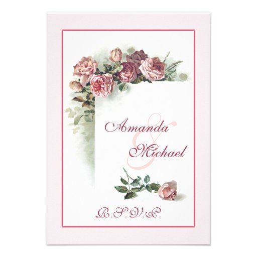 Pink Roses wedding RSVP Announcements