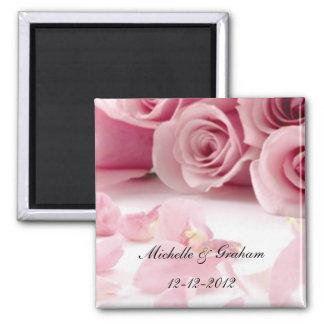 Pink Roses Wedding Souvenir Magnet
