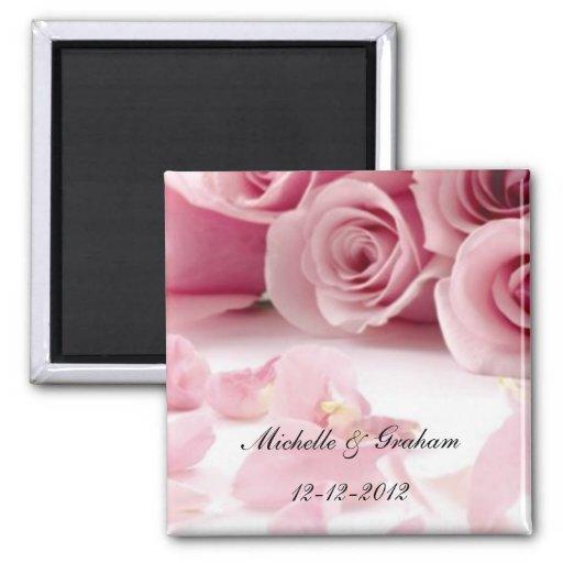 Pink Roses Wedding Souvenir Magnet Refrigerator Magnet