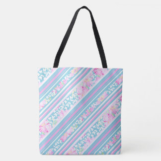 Pink Roses, White Butterflies and Matching Stripes Tote Bag
