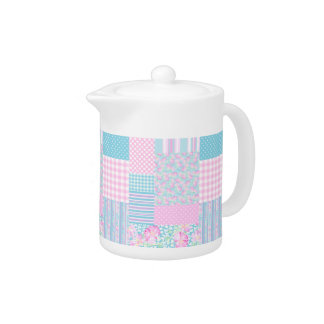 Pink Roses White Butterflies Faux Patchwork Teapot