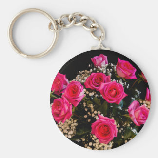Pink Roses With All My Love Basic Round Button Key Ring