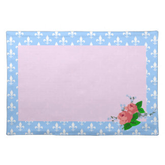Pink Roses with Blue and White Fleur De Lis Placemat