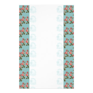 Pink Roses with Blue Background Stationery
