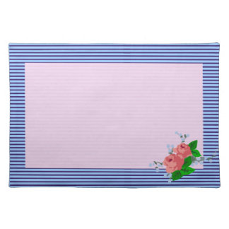 Pink Roses with Blue Stripe Placemat