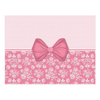 Pink Roses with Bow Postcard