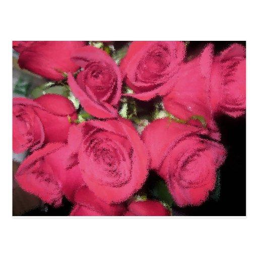 Pink Roses with dry brush II.jpg Postcard