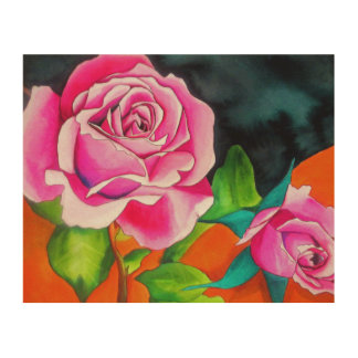 Pink Roses with orange contemporary watercolor art