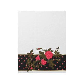 Pink Roses with Pink Polka Dots on Black Border Notepad