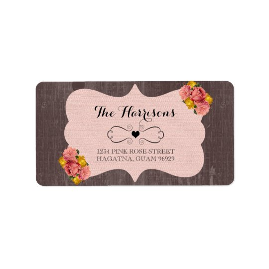 Pink Roses Wood Rustic Wedding Address Labels