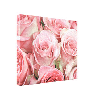 Pink Roses Wrapped Canvas Stretched Canvas Print