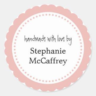 Pink rosette handmade custom label party favor