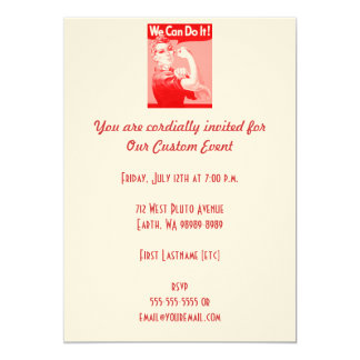 """Pink Rosie the Riveter """"We Can Do It!"""" Poster 13 Cm X 18 Cm Invitation Card"""