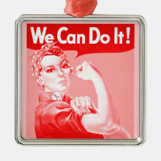 """Pink Rosie the Riveter """"We Can Do It!"""" Poster Christmas Ornament"""