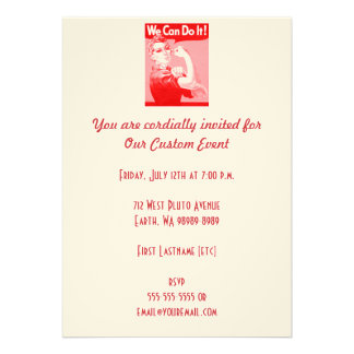 """Pink Rosie the Riveter """"We Can Do It!"""" Poster Custom Invitations"""
