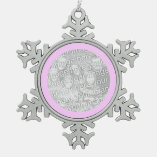 Pink Round Border Pewter Snowflake Decoration