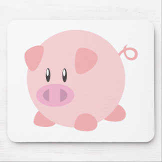 Pink Round Pig Mousepad