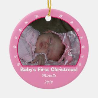 Pink Round Snowflake Christmas Ornament