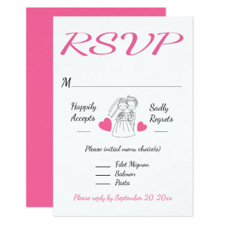 Pink RSVP Cartoon Bride & Groom Wedding Response 9 Cm X 13 Cm Invitation Card