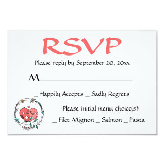 Pink RSVP Lovebirds Floral Wreath Wedding / Party Card
