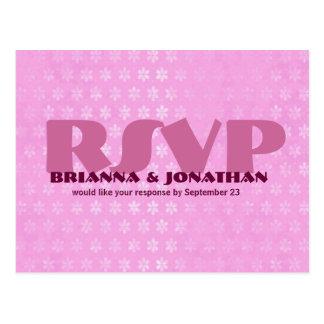 Pink RSVP Wedding Response Postcard