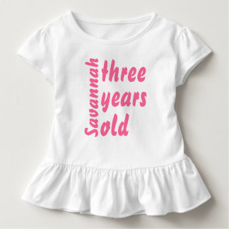 Pink Ruffle Cute Baby Girl Three Years Old Romper Toddler T-Shirt