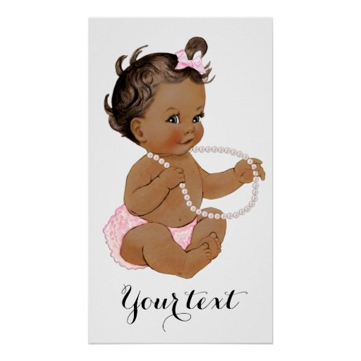 Pink Ruffle Pants Pearls Ethnic Girl Baby Shower Poster