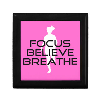 Pink Running Sports Focus Believe Breathe Small Square Gift Box