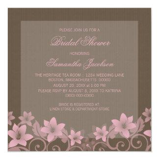 "Pink Rustic Floral Bridal Shower Invite 5.25"" Square Invitation Card"