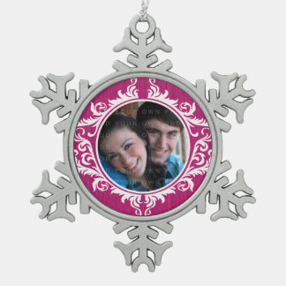 Pink Rustic Swirls Holiday Photo Ornament