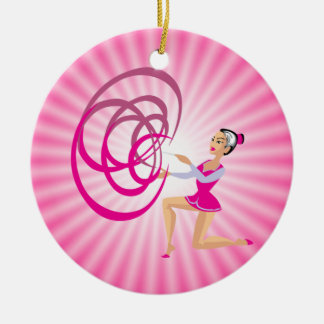 Pink Rythmic Gymnastics Ribbon Round Ceramic Decoration