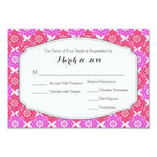 "Pink Sacred Lotus RSVP Wedding Suite 3.5"" X 5"" Invitation Card"