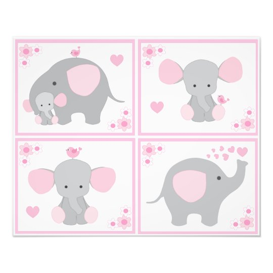 Pink Safari Elephant Girl Nursery Wall Art Prints