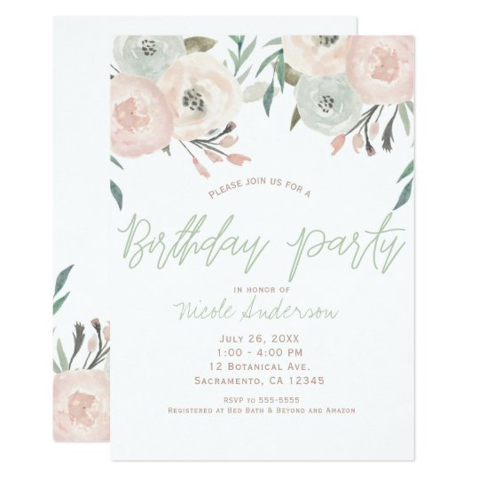Pink Sage Mint Green Modern Floral Birthday Party