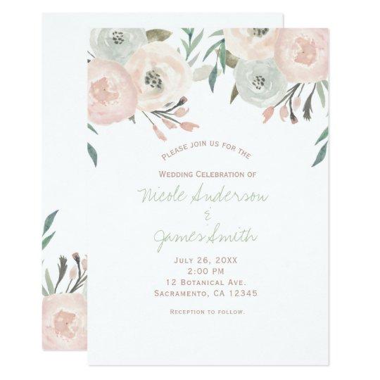 Pink Sage Mint Green Modern Floral Wedding Card