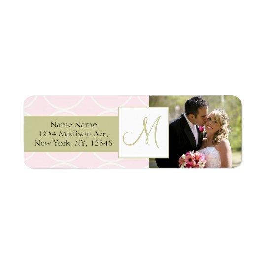 Pink Sage Monogram Photo Wedding Address Labels