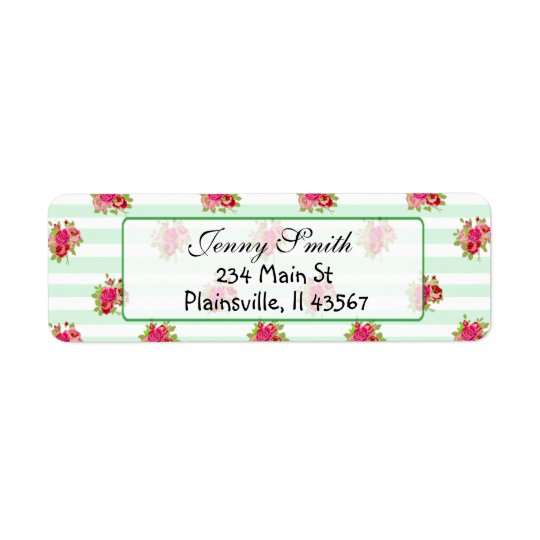 Pink & Sage Vintage Rose Return Address Label