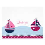 Pink Sailboat Girls Nautical Thank You Note Cards Invitation