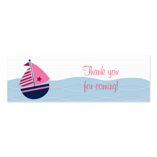 Pink Sailboat Nautical Party Favor Gift Tags Pack Of Skinny Business Cards