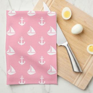 Pink Sailboats and Anchors Pattern Tea Towel