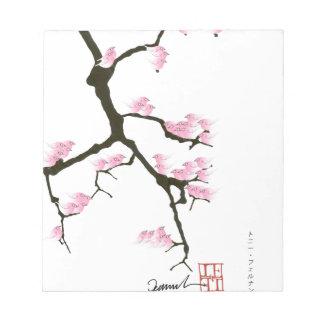 pink sakura and birds, tony fernandes notepad