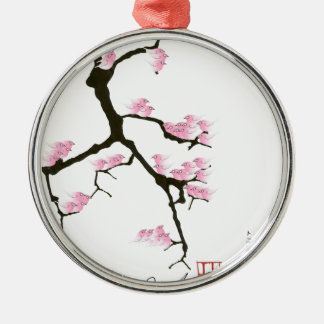 pink sakura and birds, tony fernandes Silver-Colored round decoration