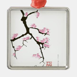 pink sakura and birds, tony fernandes Silver-Colored square decoration